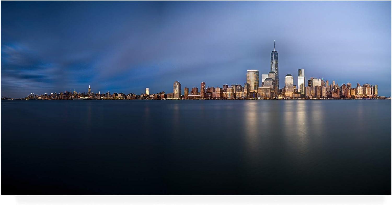Trademark Fine Art MA01019C1019GG New York City bluee Hour Panorama by David Ayash, 10x19