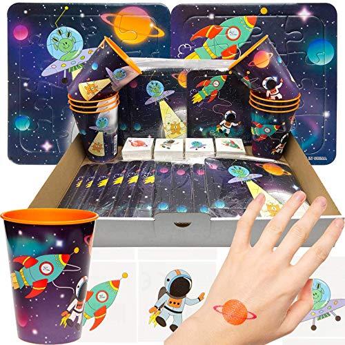JuniorToys Astronauten-Party 48 Puzzle Becher Tattoos Mitgebsel Wurfmaterial Schultütenfüller Space-Mottoparty Weltraum Kosmonauten