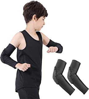 Luwint Children Volleyball Knee Arm Pads - Boys & Girls Compression Armour Protective Knee Elbow Guard for Football Basketball Baseball Bowling Tennis Hockey Sports, 1 Pair