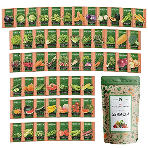 Heirloom Vegetable Seeds - 25,300+ Seeds - 55 Variety of Non GMO Vegetable Seeds for Planting Home...