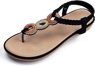 صنادل أبلانس زوم للنساء مريحة في الصيف أحذية الشاطئ عارضة مرونة أشرطة الشريط ثونغ حزام الكاحل صندل