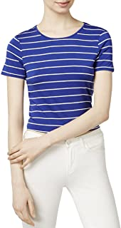 kensie Striped Tie Detail Short Sleeve Top