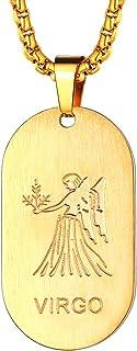 FaithHeart Astrología Medalla Ovalada Acero Inoxidable Collar de Horóscopo para Hombre y Mujer Colgante de Identidad Joyería de Regalo Signos de 12 Constelaciones