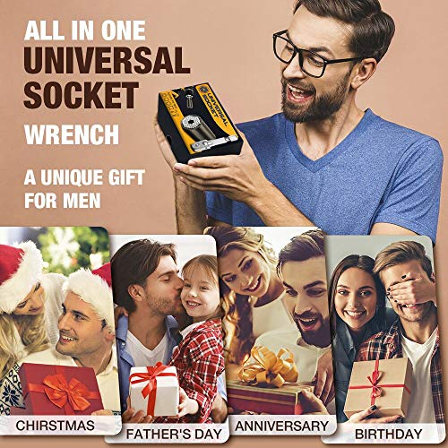 Universal Socket Tools Dad Gifts, Super Socket Gadget Gifts for Men/Women with Power Drill Adapter for 1/4'' - 3/4'', Tool Sets Gifts Idea for Boyfriend, Husband, Father on Father's Day, Birthday