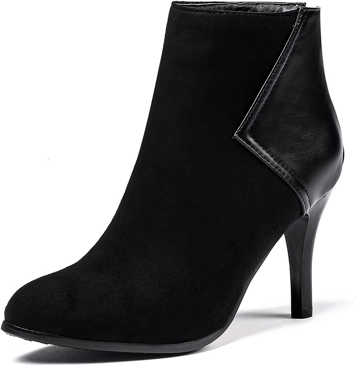 DoraTasia Women's Back Zipper Pointed Toe Nubuck Mid Heel Ankle Boots