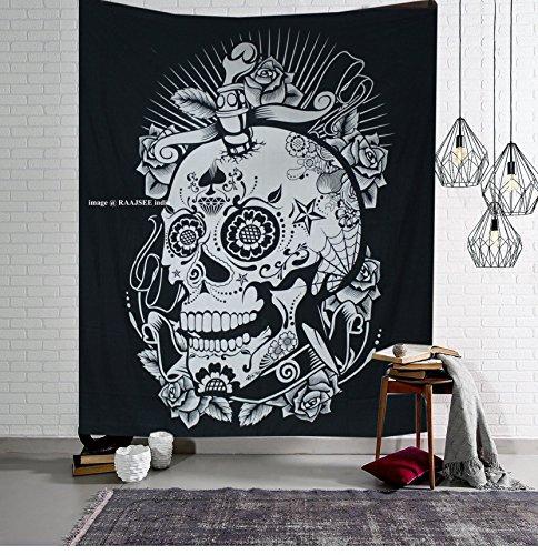 Indischer Baumwoll Raajsee Tapisserie mit rotem Design