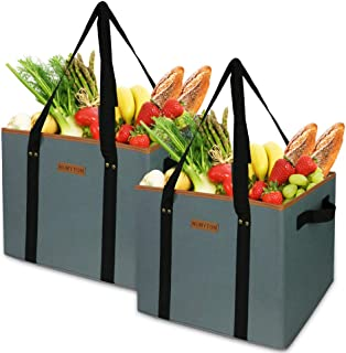 NUMYTON Large Reusable Grocery Shopping Bags Heavy Duty Tote bag with extra long handles, Reinforced Side and Bottom 100% Machine Washable, Collapsible,Waterproof
