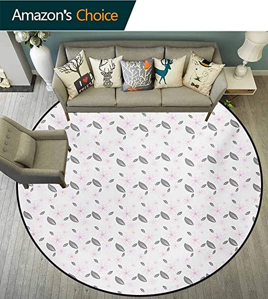 Floral Rug Round Home Decor Area Rugs Big Spring Flowers And Leaves Nature Inspired Garden Pattern Artwork Non Skid Bath Mat Living Room Bedroom Carpet Diameter 47 Inch Pale Grey Grey Pale Pink