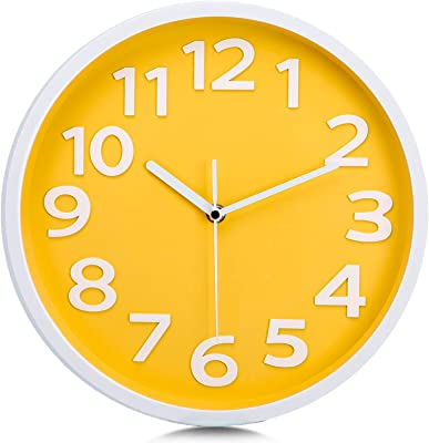 Lafocuse Modern Yellow Wall Clock for Kitchen 12 Inch Silent Clocks Battery Operated with Large 3D Raised Number Easy to Read for Living Room