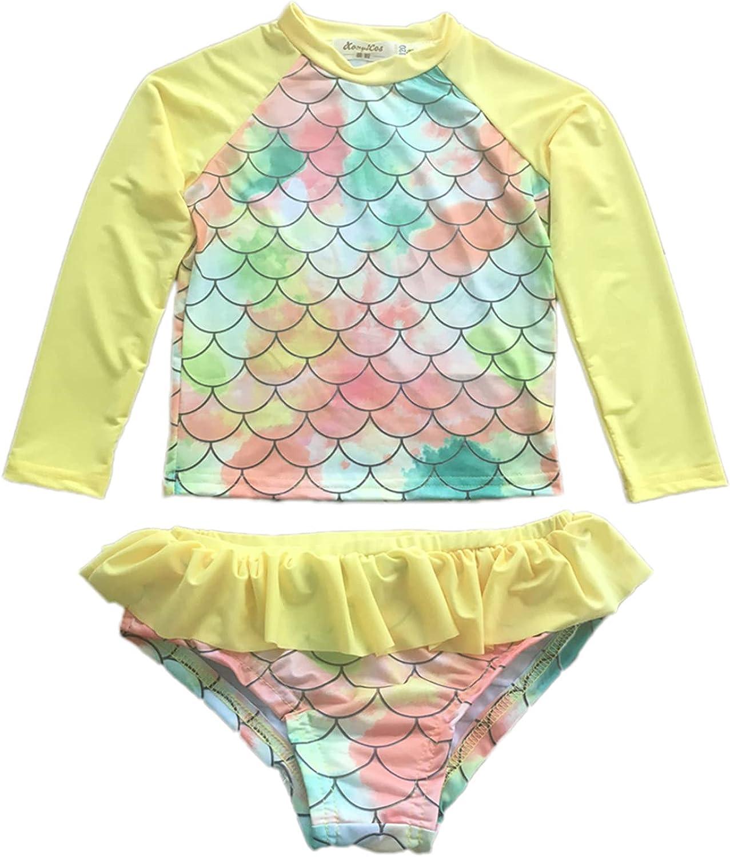XonyiCos Be super welcome Little overseas Girls Rash Guard Swimsuit Set Long P Sleeve Two