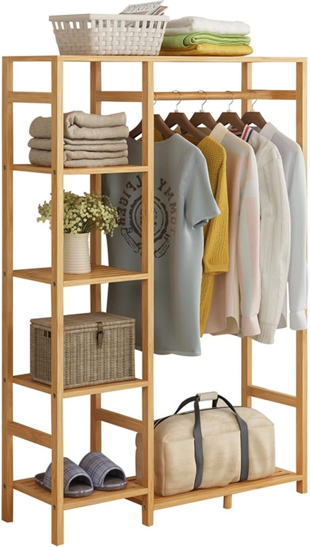QIANGDA Floor Standing Hat and Coat Coat Rack 5-Tier Shelf and a shoes Rack, Convenient Placement Bedroom, Wood color, 130cm high x 90cm Wide x 29cm deep