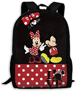 WOMFUI Red Mic-key Mouse Backpack 17 Inch Large Laptop Backpack Cute Bookbag for Men Women