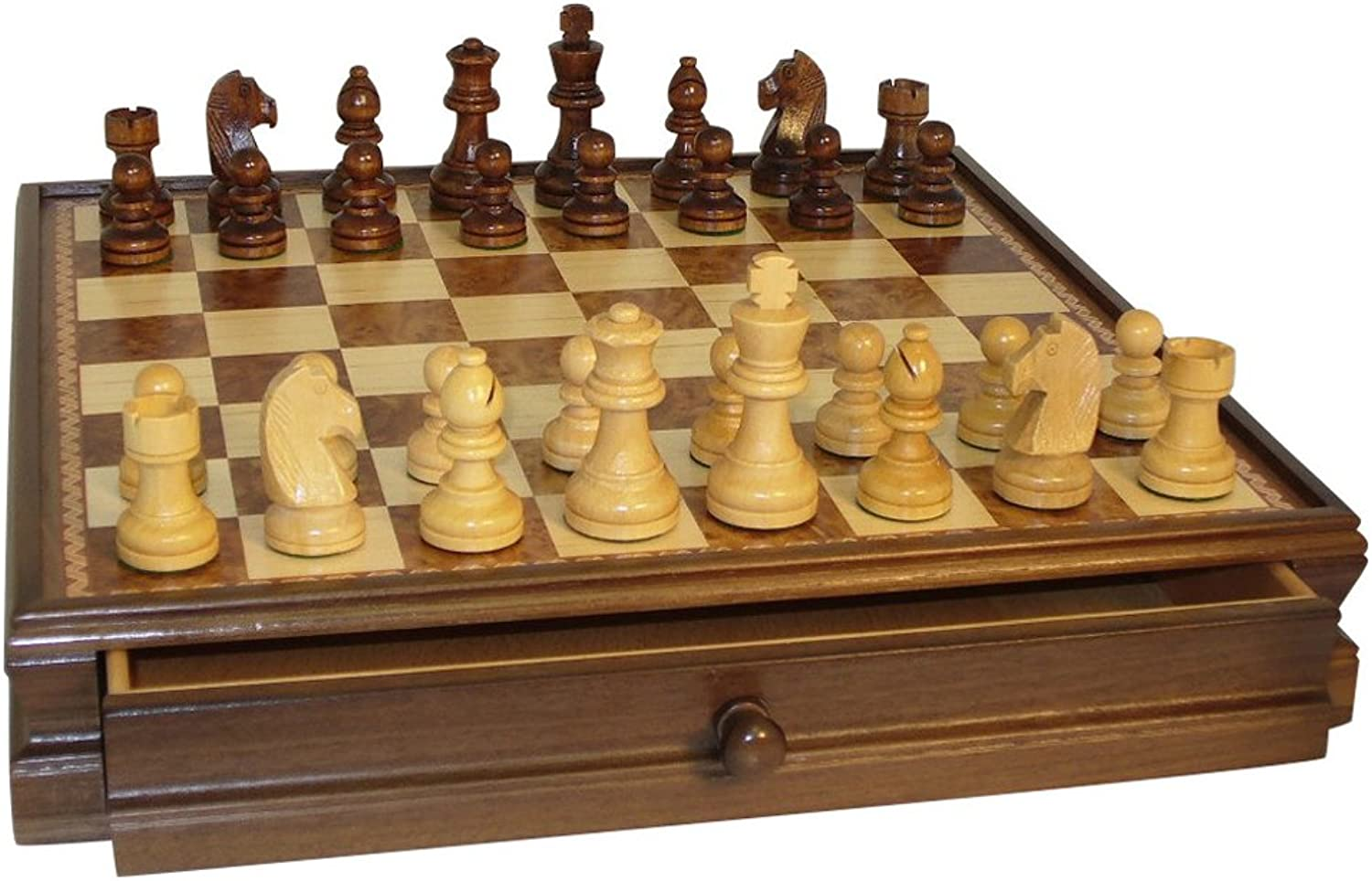 Chess Set Inlaid Drawer Chest with 3.5 Chessmen by WorldWise Chess