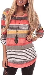 YOUCOO Women Casual Stripe Blouse Crewneck Short Sleeve Tunic Tops Shirts