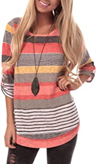 Womens Long Sleeve Round Neck T Shirts Color Block Striped Casual Blouses Tops