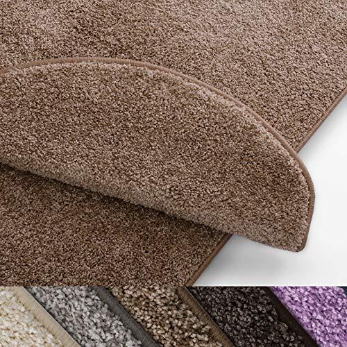 Stufenmatten Uni beige | Qualitätsprodukt aus Deutschland | GUT Siegel | kombinierbar mit Läufer | 65x23,5 cm | halbrund | 15er Set