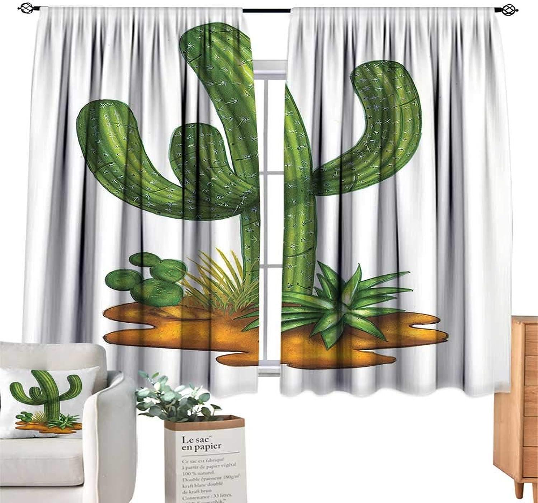 Unprecall Cactus Kids Room Decor Arid Climate Flora Saguaro Plant Succulent Illustration South America MexicoGreen Pale Caramel Curtain Living Room W108 x L72