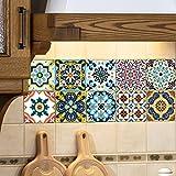 Tomkity 10 Pezzi Adesivi per Piastrelle in PVC Impermeabile Autoadesivo Decorazione per Muro Cucina Bagno (Mediterraneo)
