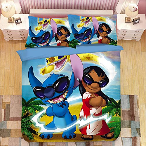 BTBDWOSW 3D Duvet Cover Single Bedding Set Bed For Children Teens Pattern With 2 Pillowcases Quilt Cover With Zipper Closure 100% Microfiber Cartoon Animal Elf 135X200 Cm