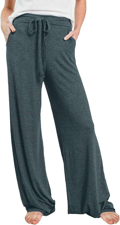 PRETTYGARDEN Women's Casual Pajamas Pants Drawstring Waist Stretchy Loose Long Lounge Pants Workout Pants with Pockets