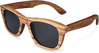 Navaris occhiali da sole in legno filtro UV400 - occhiali unisex con montatura in legno zebrano e lenti TAC polarized - di...