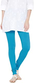 FashGlam Women Premium Cotton Churidar Legging - Turquoise Blue
