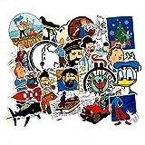 YCYY 25 animación de fantasía Europea y Americana, Caja de Palanca de Aventuras de Tintín, Pegatina de Graffiti, Pegatina Impermeable para Nevera y Coche
