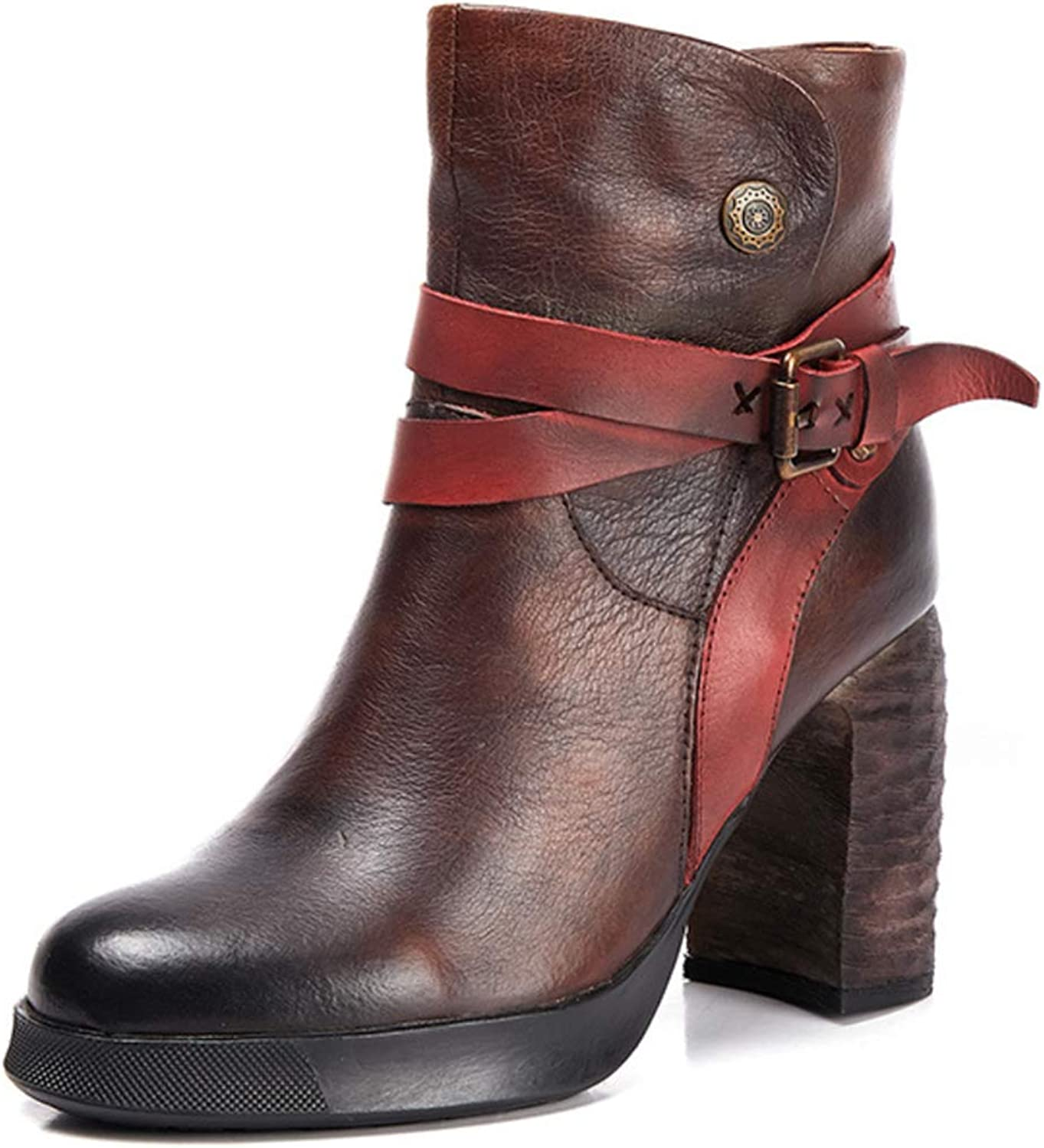 Women Martin Boots Leather high Heel Round Head Thick with Boots Side Zipper Belt Buckle Waterproof Metal Decorative Retro Style New Boots