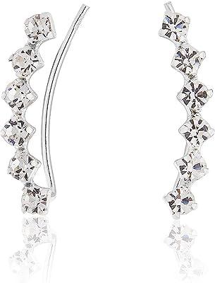DTP Silver - Pendientes/Aretes - Plata de Ley 925 con Cristales Swarovski de forma curvada - Color: Transparente/Claro