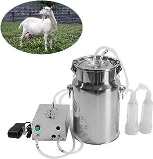 Machine à traire électrique 7L Seau Traiteur de pulsation en acier inoxydable portable pour vaches et chèvres avec 2 gobel...