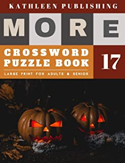 Crosswords Large Print: crossword puzzle books for adults big print | More 50 Large Print Crosswords Puzzles to Keep you Entertained for Hours | halloween pumpkin design (crossword books quick)