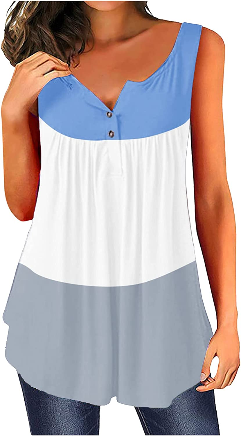 Max 46% OFF New mail order Smileyth Womens Colorblock Summer Casual Tank Button Tops Down V