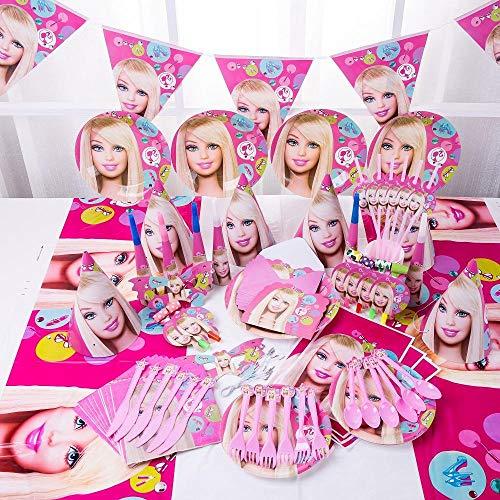 LIAOER Decoraciones Cumpleaños Dibujos Animados-90 Piezas, Decoraciones Bautizo Niños Niñas, Juego Decoración Vajilla para Fiestas, Adecuado para Aniversario, Fiesta(6 Personas)-Barbie