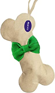 Maxracy Burlap Easter Day Christmas Holiday Stockings Xmas Fireplace Hanging Bone Shape with Bowtie and Hanging Loop for Pet Dog Holiday Decoration Ornaments Make DIY Craft (Green Bowtie)