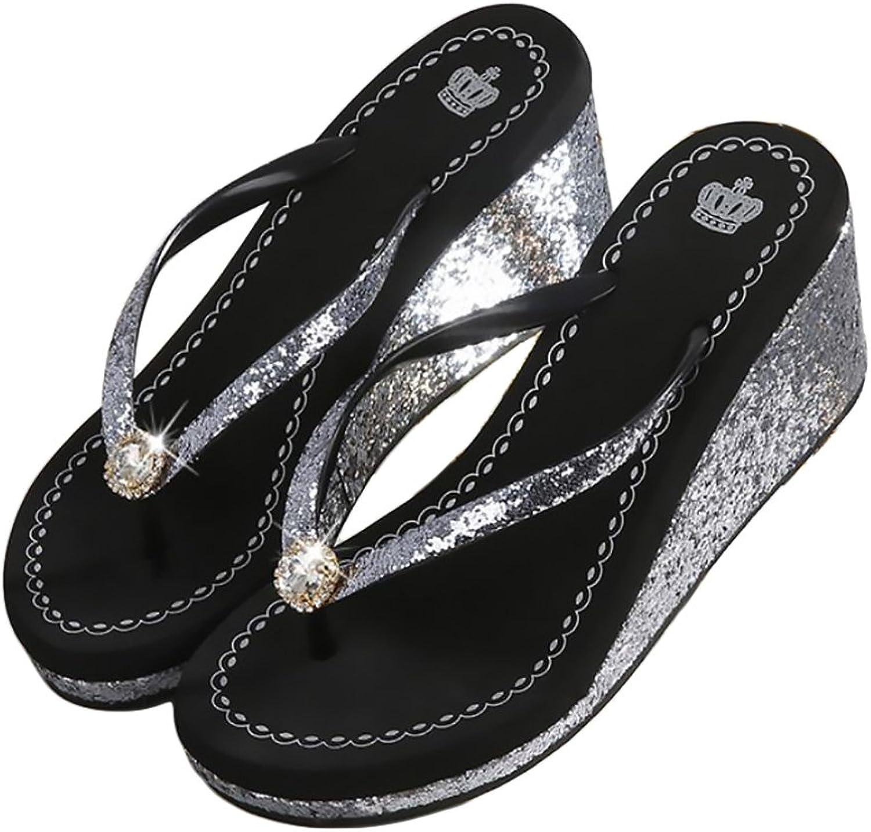 Nite closet Flip Flop Wedge for Women Metalic Beach Sandals Size 7-8