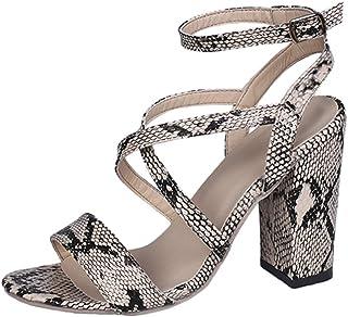 Sandalias Tacón de 10 cm Sexy Mujer Casual Zapatos de Tacón Sandalias de Vestir con Estampada Serpiente Transpirable Sanda...