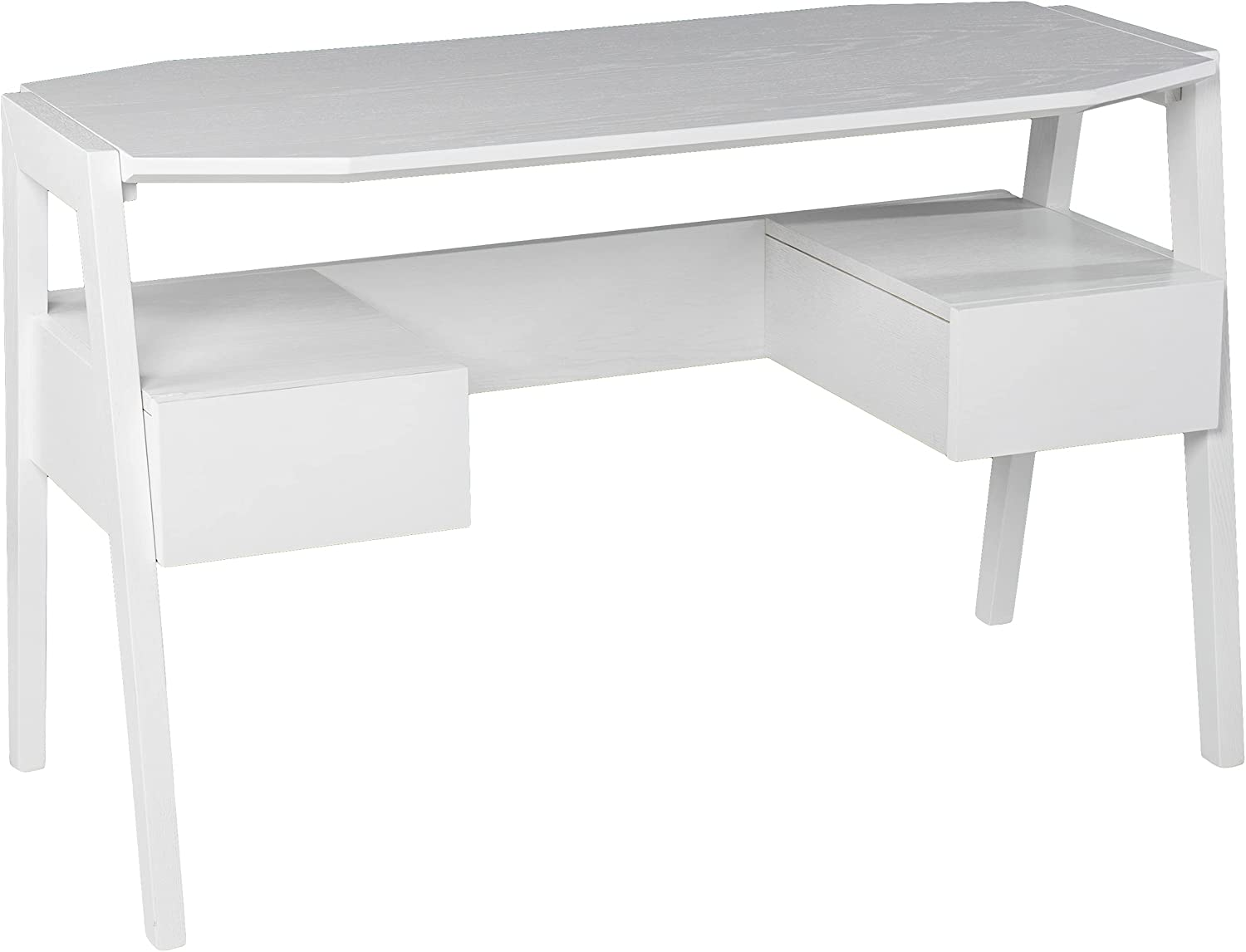 Clyden Midcentury Modern Selling rankings Writing Desk White Storage Baltimore Mall with