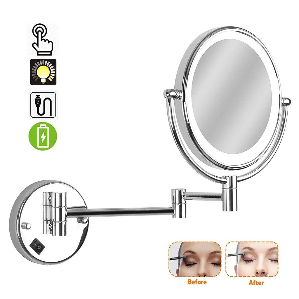 さておき人差し指エンターテインメント壁に取り付けられた化粧鏡、LED照明付き10倍、化粧鏡、両面360度;?ベッドルームまたはバスルームの回転式伸縮式シェービング-USB充電式