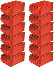 """12 cajas de almacenamiento """"Classic"""" FB 2T con barra de transporte, 510/450 x 300 x 200 mm, 27 litros, color rojo"""