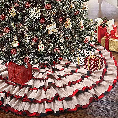 KERIQI 48 Inch Buffalo Plaid Christmas Tree Skirt, Burlap Red and Black Check Ruffle Tree Skirt for Rustic Farmhouse Holiday Christmas Tree Decorations