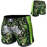 FOX-FIGHT Warrior Short pour la boxe thaï, le kickboxing, l'UFC, les arts martiaux, la boxe, le sport en général ou les MMA (arts martiaux mixtes) M noir/vert