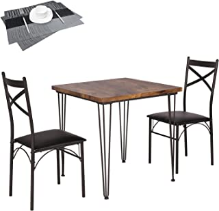 VECELO Dining Set Industrial Style 3 Pieces Kitchen Wood...