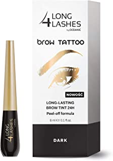 Long 4 Lashes by Oceanic Brow Tattoo, Long Lasting Brow Tint 24Hr, Peel Off Formula (1 Pack, Dark)