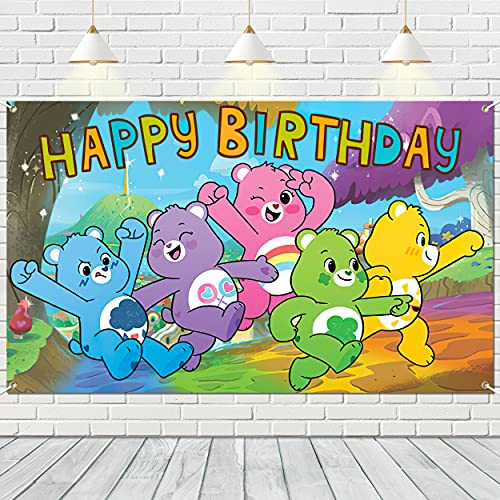 Kvtuco CareBearBackdrop Background - 5x3FT CareBearsPartyDecorations HappyBirthday PhotographyBackdrop Birthday Party Supplies for Newborn Children Baby Shower Family