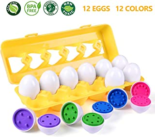 MAGIFIRE Montessori Toys for 1 Year Old,12 Packs Color and Number Match Eggs for Preschool Toddler Games Educational Color Recognition Skills Learning