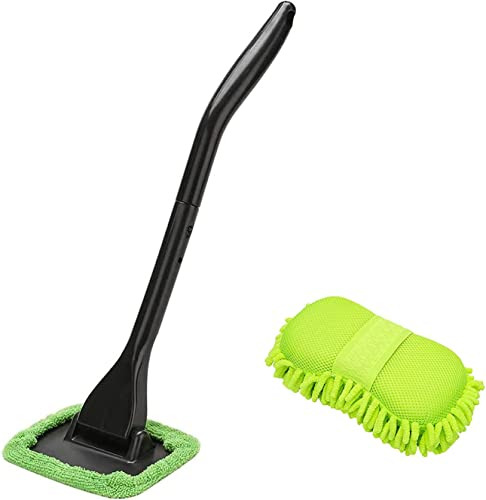 XINDELL Window Windshield Cleaning Tool Microfiber Cloth Car Cleanser Brush with Detachable Handle and Wash Sponge Mitt with Premium Chenille Microfiber
