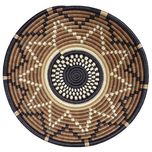 All Across Africa Handwoven 14-inch Hope Basket, Black/Brown Sugar