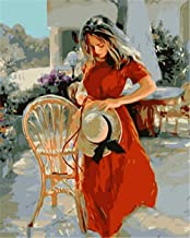 Painting by Numbers DIY Oil Painting for Adult Red Skirt Girl Canvas Print Wall Art Decoration 40X50Cm