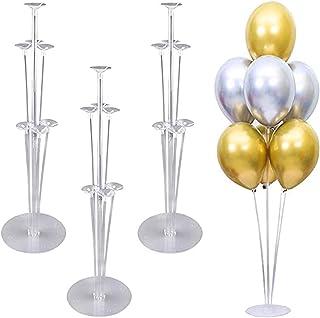 حاملات بالون، مجموعة من 4 حاملات للبالونات بتصميم شفاف، عمود لحمل البالونات والازهار، حامل لسطح الطاولة والمكتب للاحتفال ب...