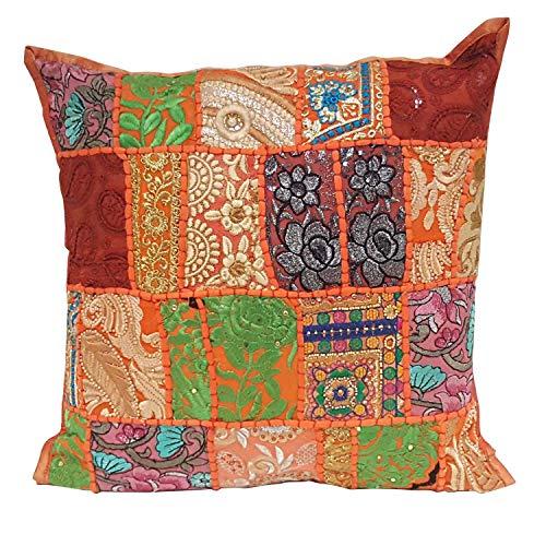 Casa Moro Orientalisches Patchwork Kissen Mar88 Orange 40x40 cm mit Füllung mit Stickerei & Pailletten | Schöne Dekoration als Couchkissen Sofakissen Bodenkissen Sitzkissen & Geschenk-Idee | MA8803